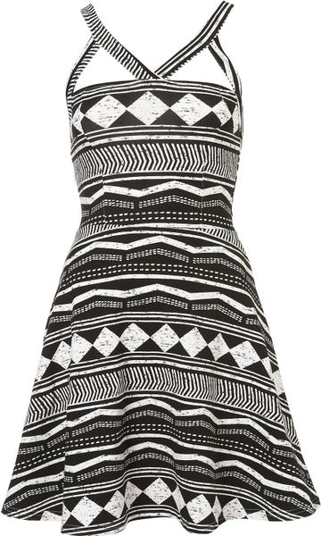 Topshop Aztec Strappy Flippy Tunic in Black