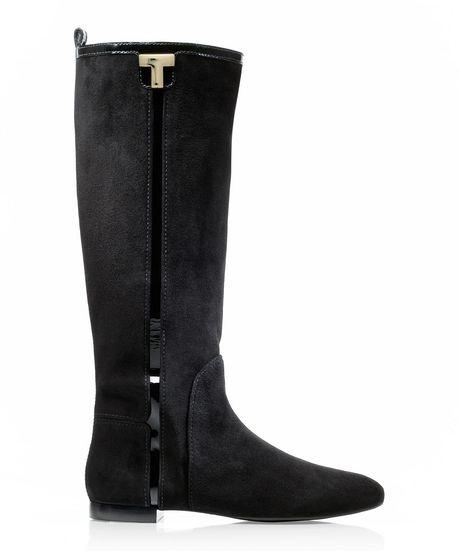 burch erica suede flat boot in black lyst