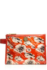 Tory Burch Printed Coated Poplin Large Makeup Case - Lyst