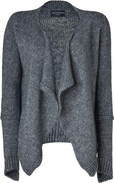 Nude Open Knit Metallic Cardigan in Grey (Grey) - Lyst