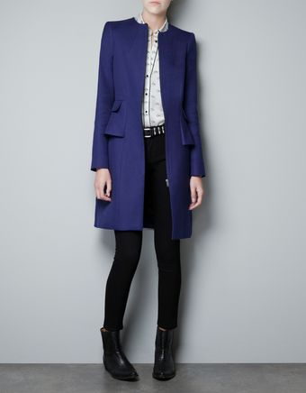 Zara Structured Coat with A Frill At The Hip - Lyst
