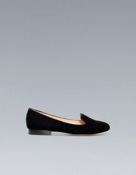 Zara Basic Velvet Slipper in Black - Lyst