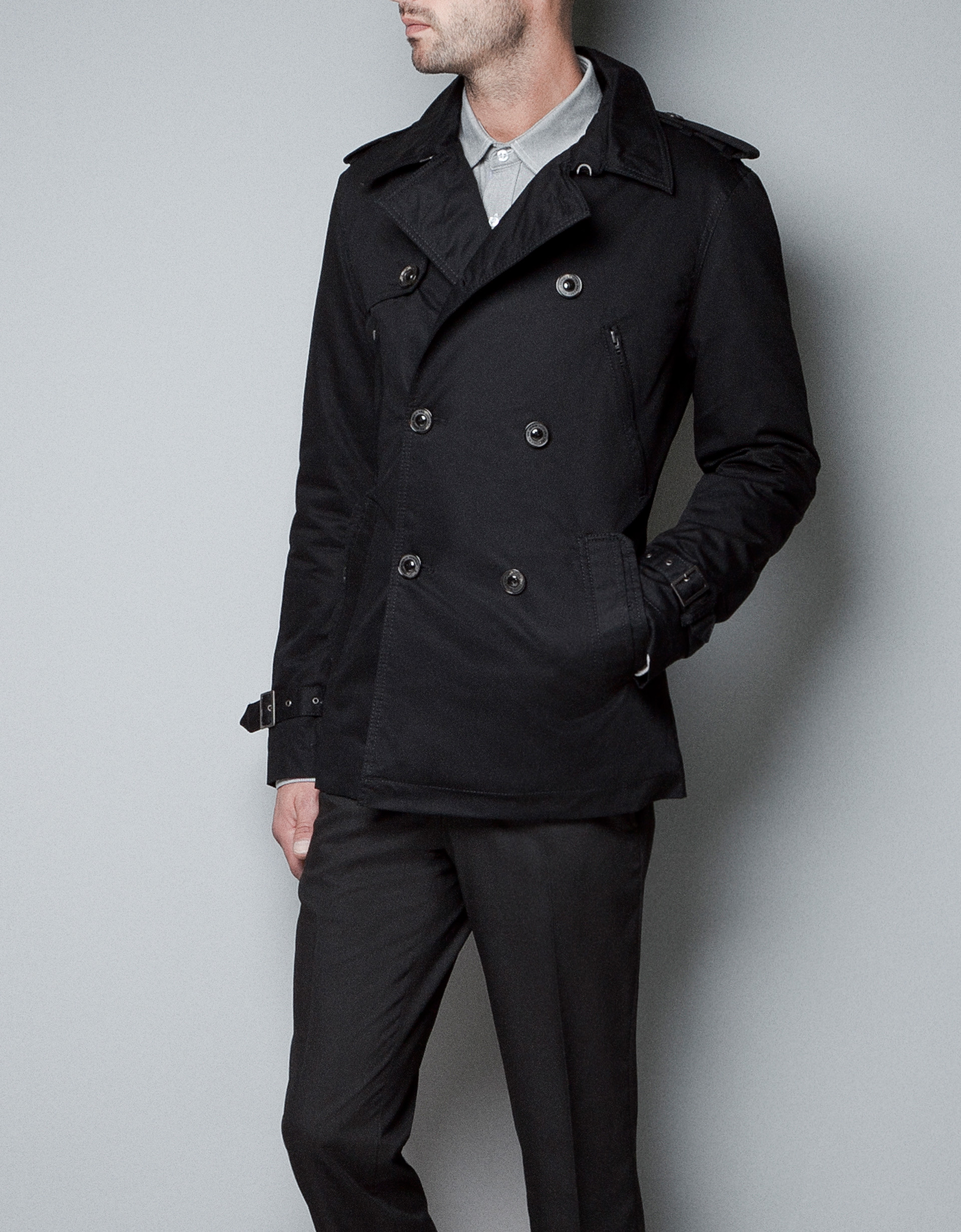 Zara Double Breasted Trench Coat in Black for Men | Lyst