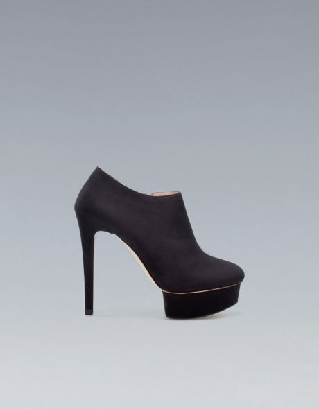 zara high heel platform ankle boot in black lyst