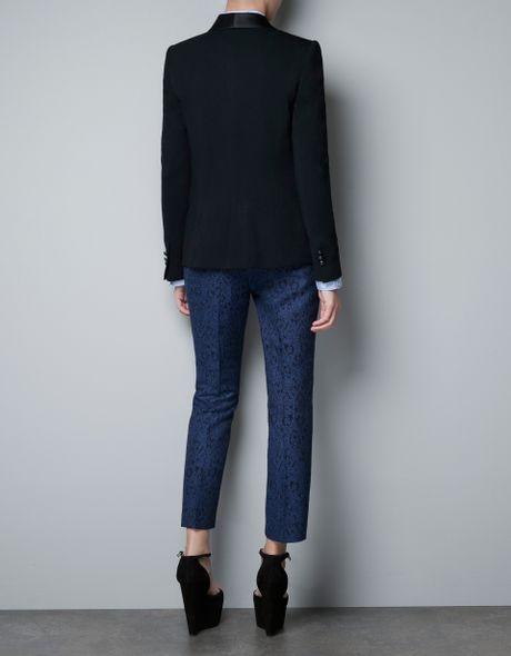 Zara Jogging Blazer With Silk Satin Tuxedo Collar In Black