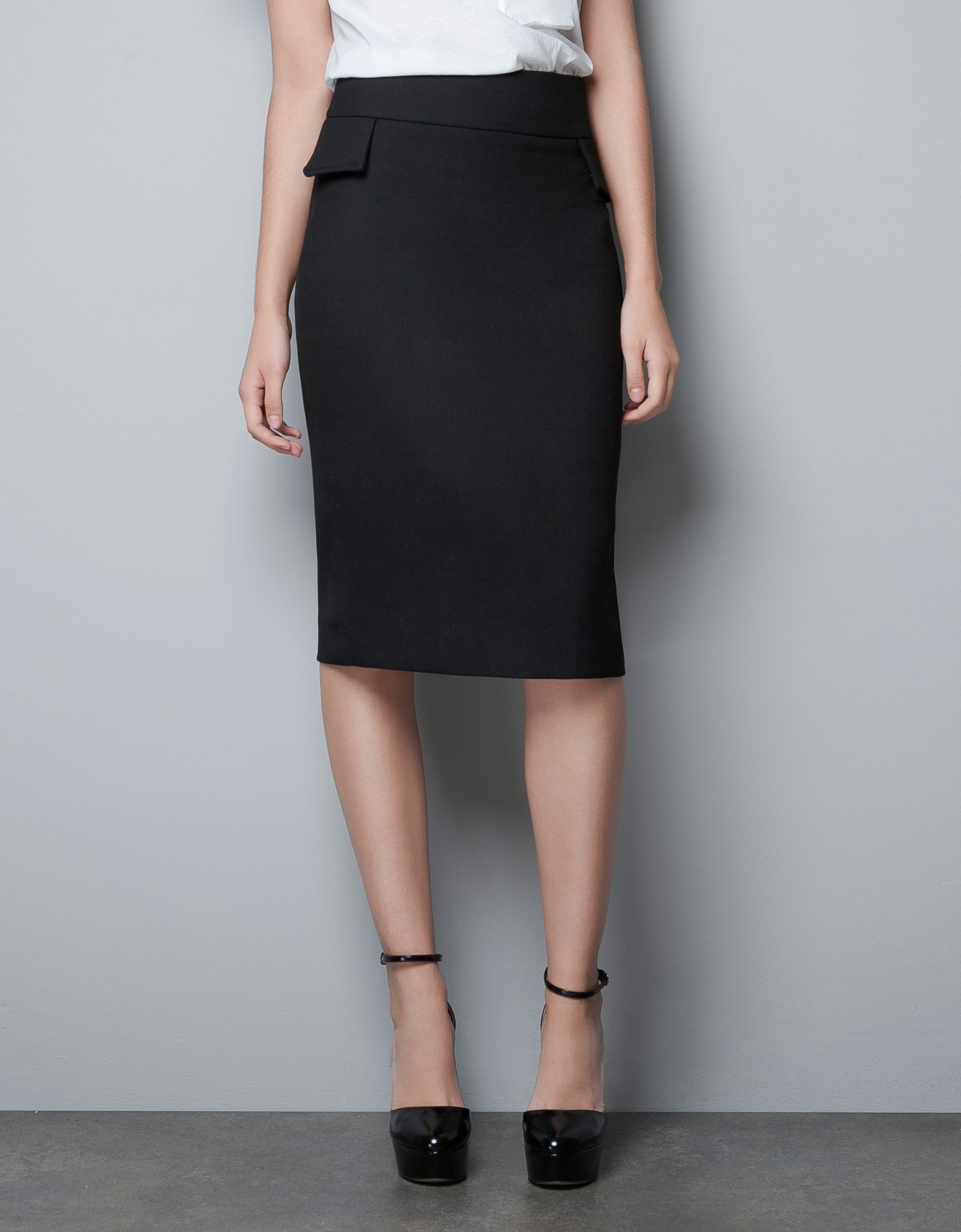 zara pencil skirt with side panels in black lyst