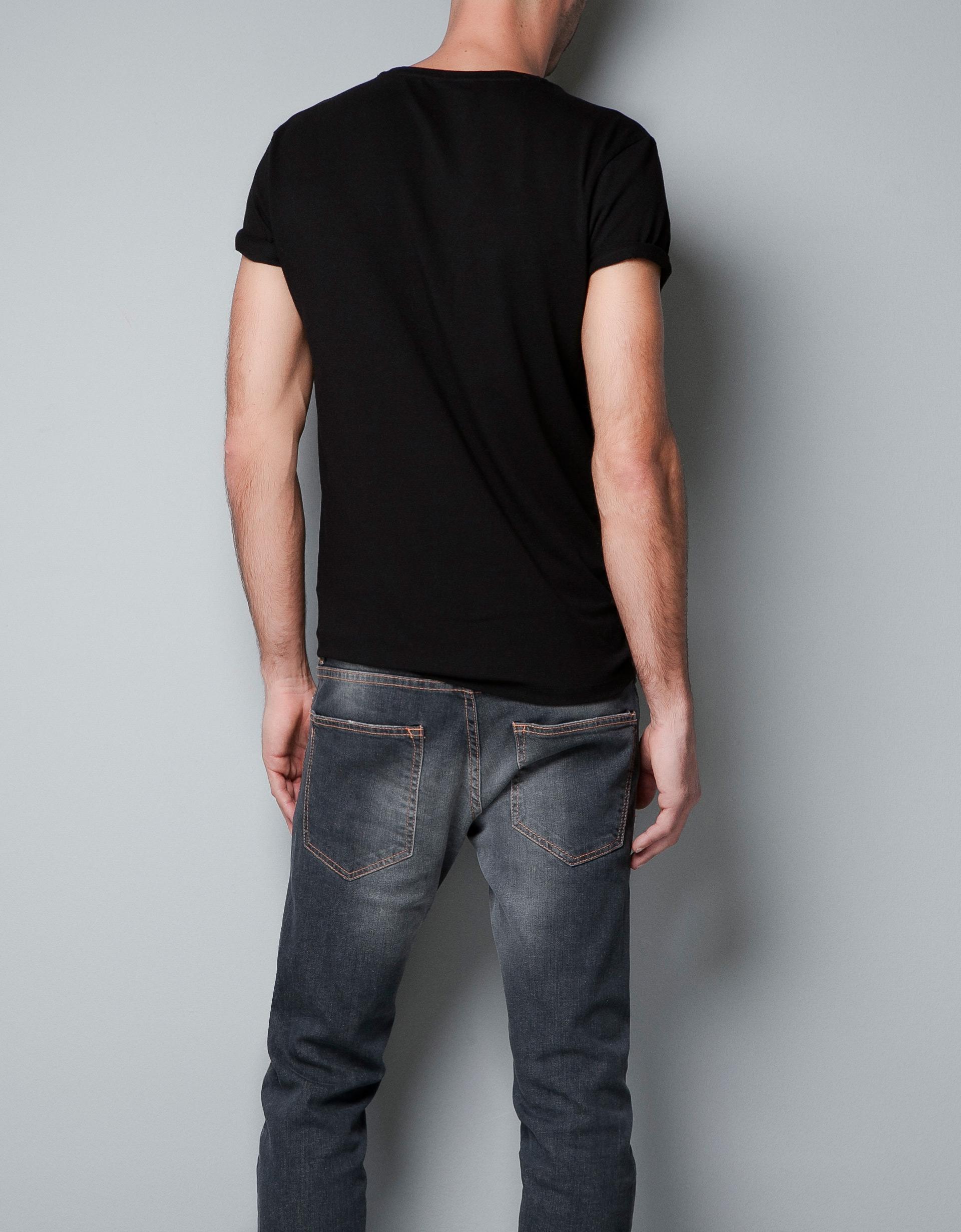Zara Super Slim Fit T Shirt In Black For Men Lyst