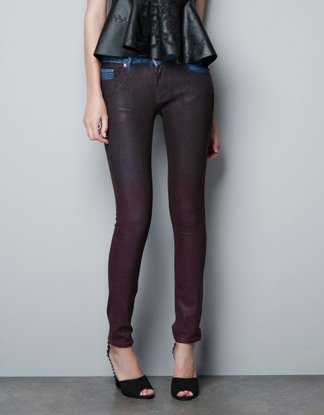 Zara Wax Coated Jeans In Purple Bordeaux Lyst