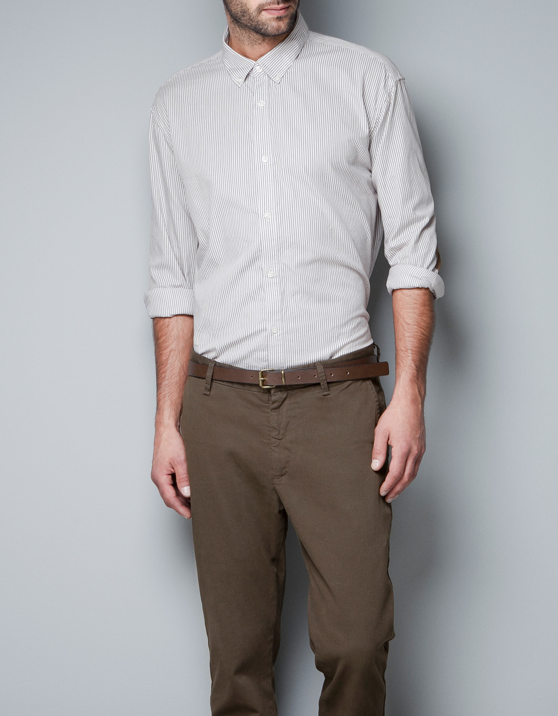 Zara Striped Shirt With Elbow Patches In Brown For Men Lyst