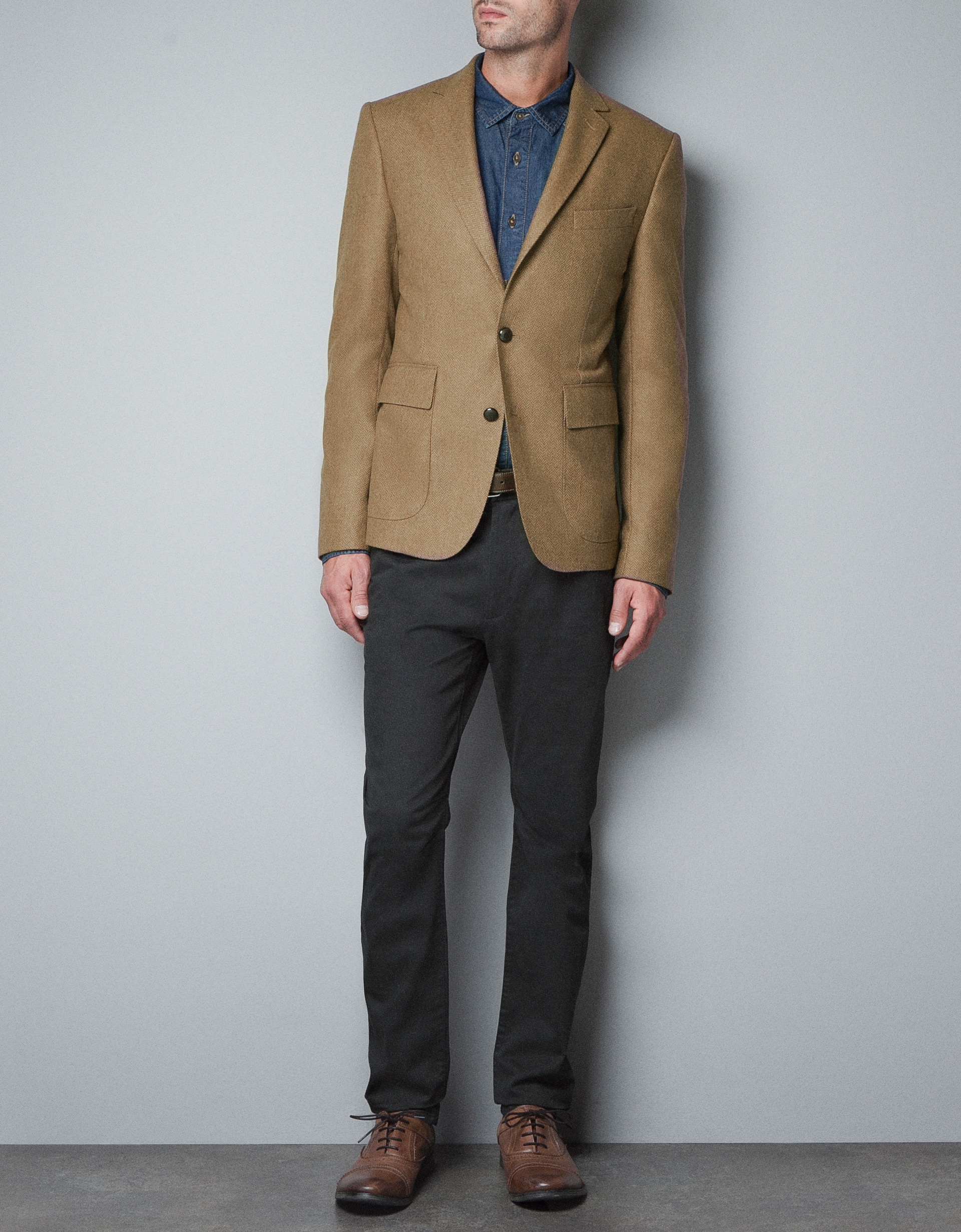 Zara Herringbone Blazer in Brown for Men | Lyst
