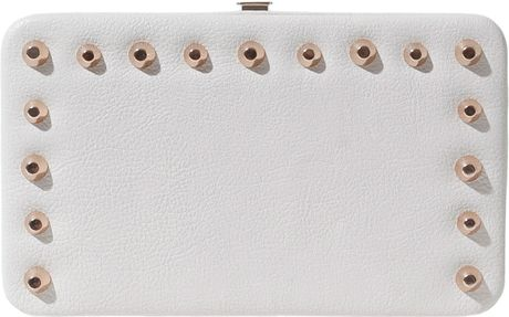 Zara Box Wallet with Conical Gold Studs in Beige (ecru) - Lyst