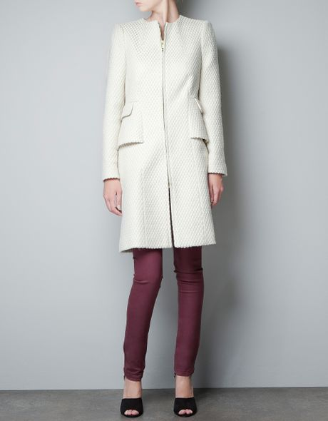 Zara fantasy wool jacquard coat in white ecru