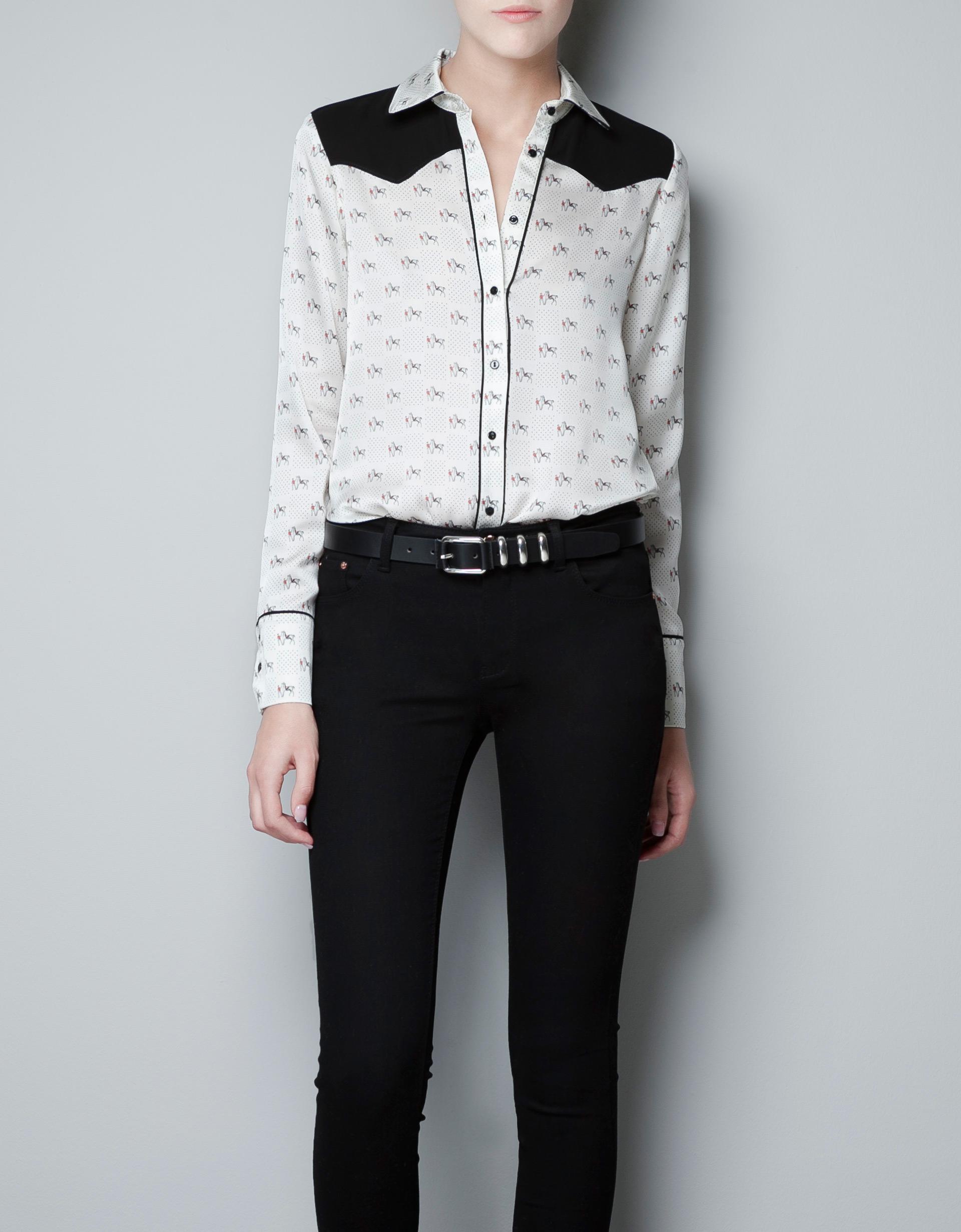 Horse Print Blouse Zara 34