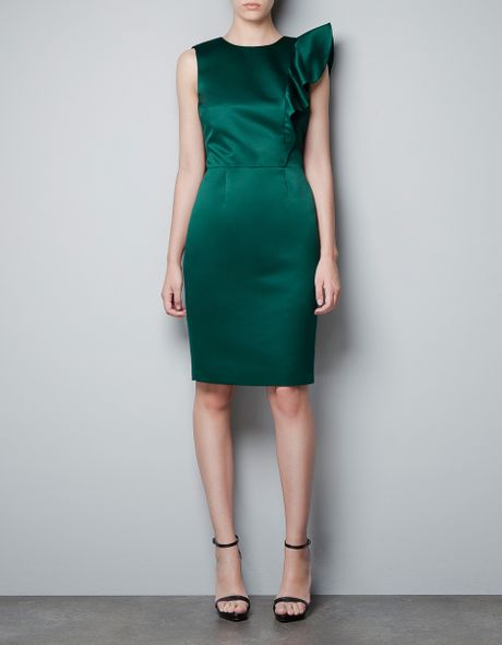 Zara Dress with Asymmetric Shoulder and Frill in Green (not available)