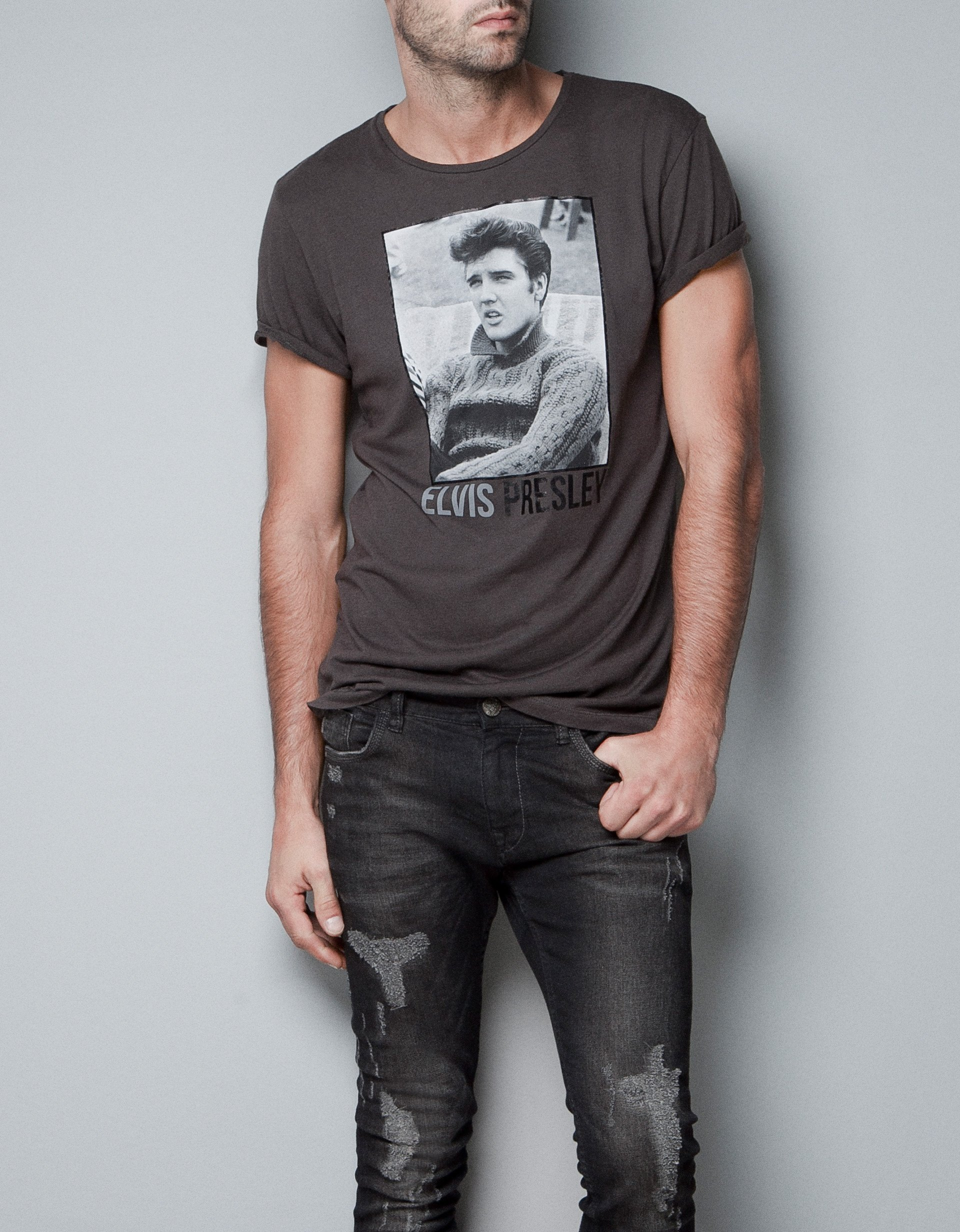 Zara Elvis T Shirt In Gray For Men Grey Lyst