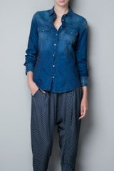 Zara Medium Faded Denim Shirt - Lyst