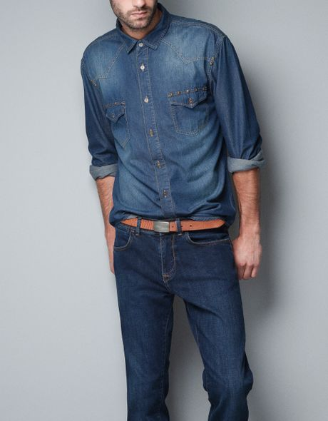 Zara Studded Denim Shirt in Blue for Men (indigo)