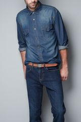 Zara Studded Denim Shirt in Blue for Men (indigo) - Lyst