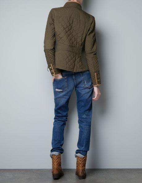 Zara Quilted Jacket In Khaki Lyst