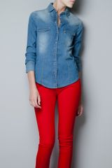 Zara Medium Blue Denim Shirt - Lyst