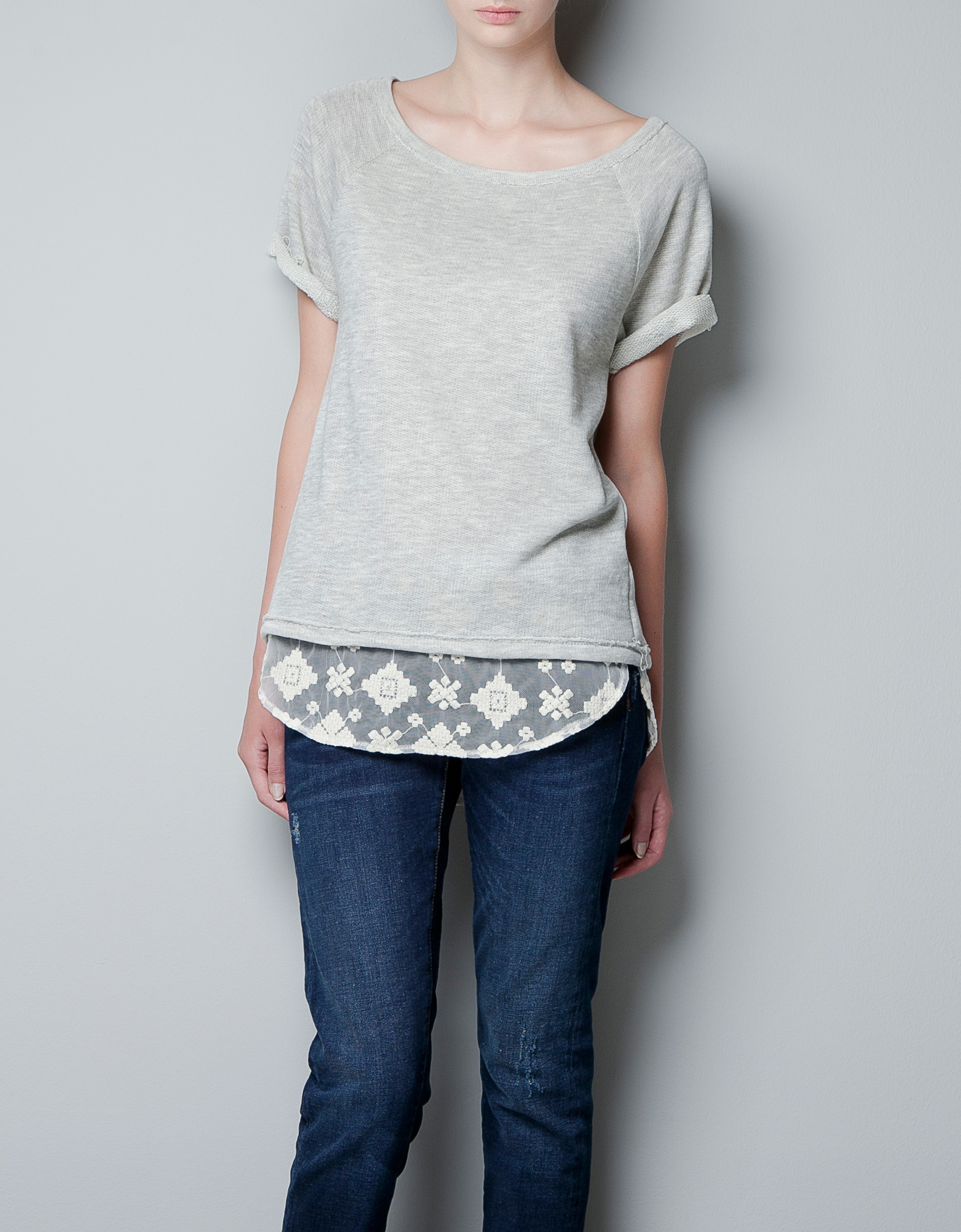 zara tshirt with a lace hem and a bow in gray marl grey. Black Bedroom Furniture Sets. Home Design Ideas