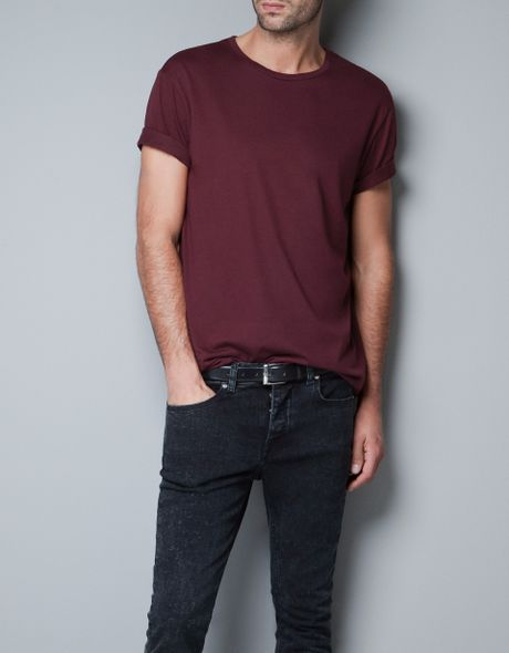 Zara basic relaxed fit tshirt in purple for men maroon for Zara mens shirts sale