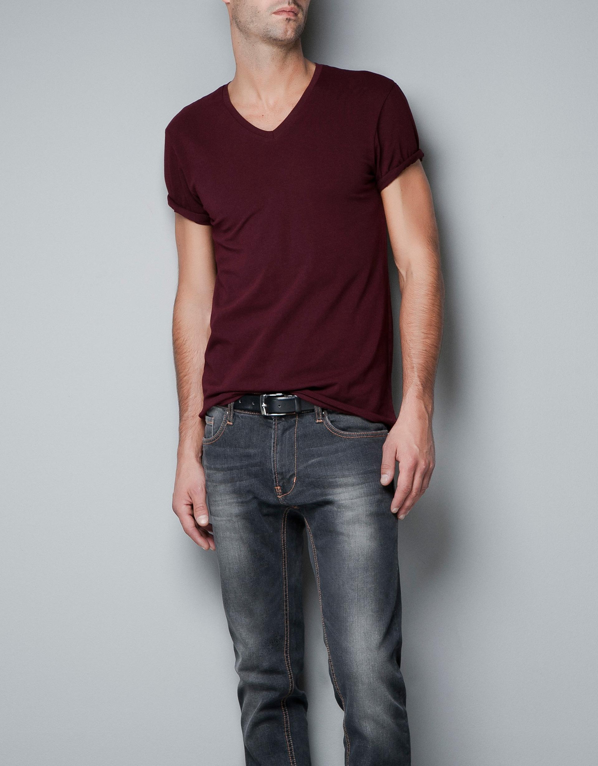 Zara Super Slim Fit T Shirt In Red For Men Lyst