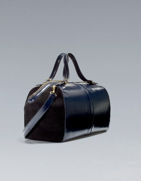 Zara Antik Leather Combined Bowling Bag in Blue (navy blue)