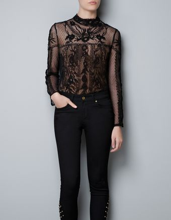 Zara Top with Embroidered Swiss Dot Flowers - Lyst