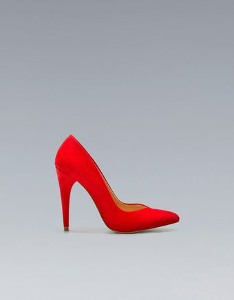 Zara Basic Suede Court Shoe - Lyst