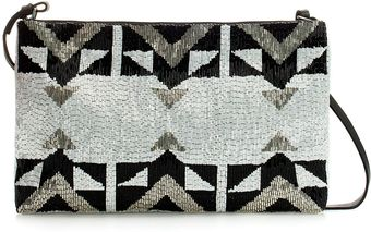 Zara Leather Beaded Clutch - Lyst