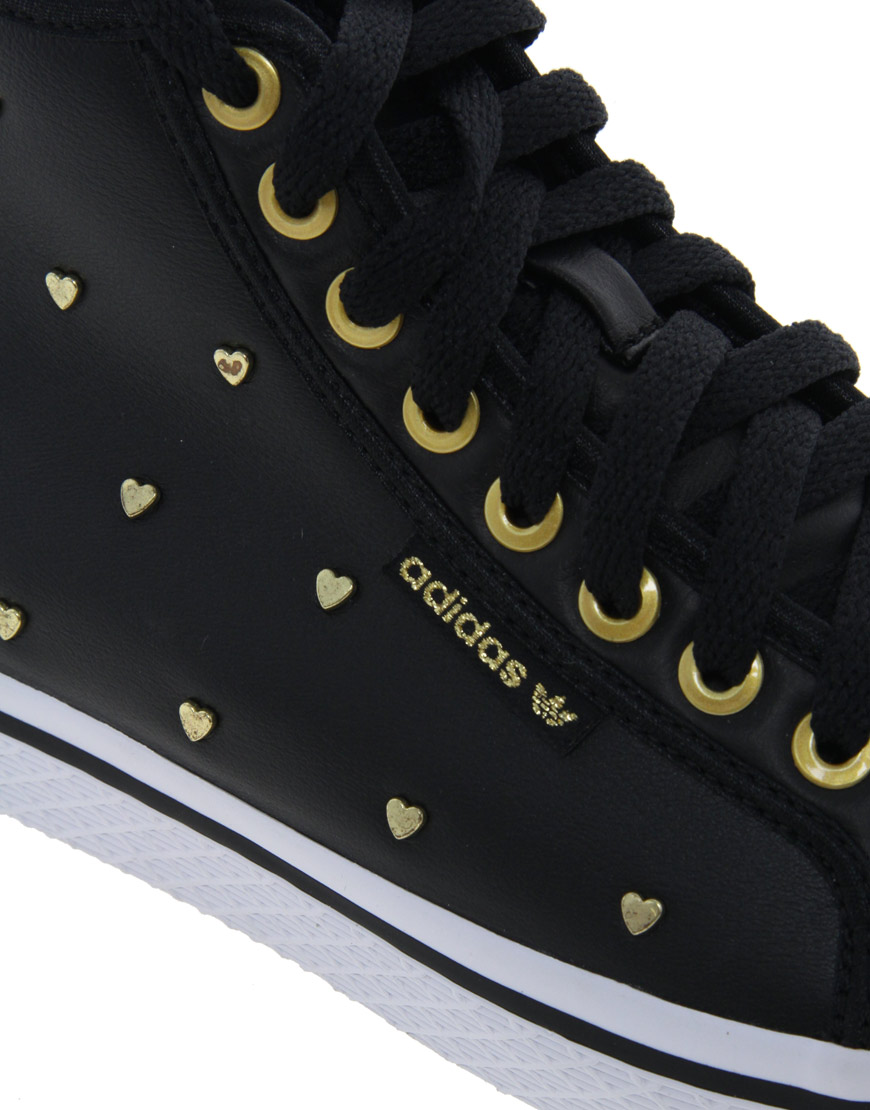 Lyst - adidas Honey Gold Heart Mid Trainers in Black f317828a7