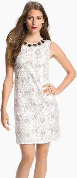 Adrianna Papell Embellished Neck Embroidered Tulle Dress