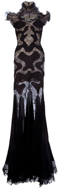 Alexander McQueen Lace Panel Evening Dress - Lyst