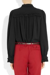 Alexander Mcqueen Ruffled Silk Crepe Blouse in Black - Lyst