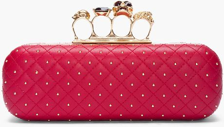 Alexander Mcqueen Red Leather Studded Skull Knuckle Box Clutch in Red