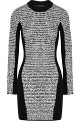Alexander Wang Wool Blend and Rubberized Tweed Mini Dress in Gray (black) - Lyst