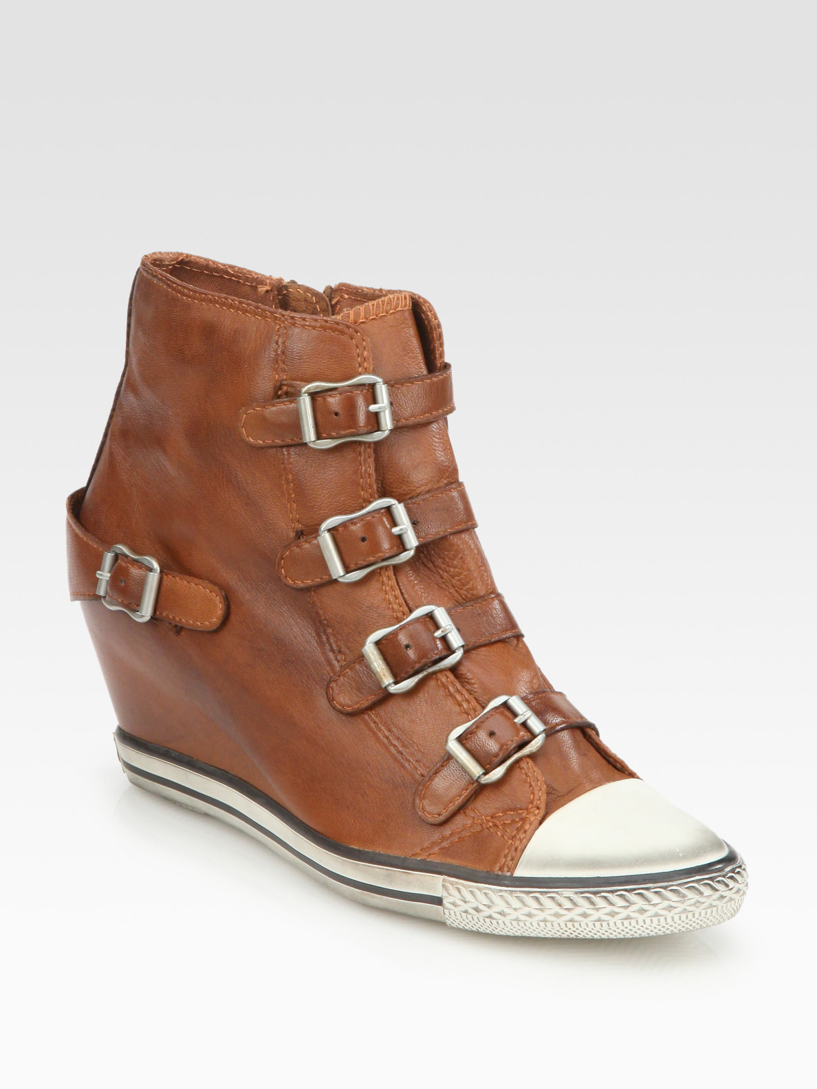 Ash Leather Buckle Wedge Sneakers In Brown Camel Lyst