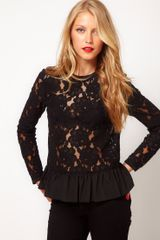 Asos Collection Asos Heavy Lace Top with Peplum in Black - Lyst