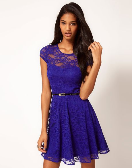 asos collection lace skater dress with belt in blue