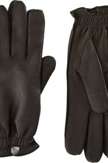 Barneys New York Windsor Short Leather Gloves - Lyst