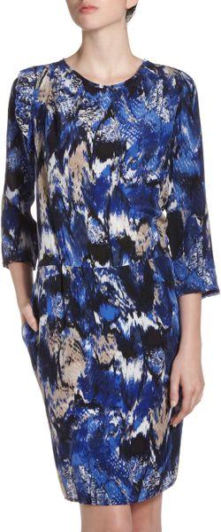 Bcbgmaxazria Dominique Ikat Print Dress In Blue