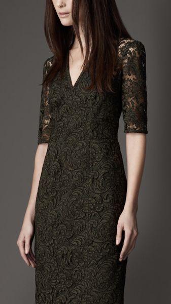 Burberry Slim Fit Lace Dress In Khaki Dark Khaki Green