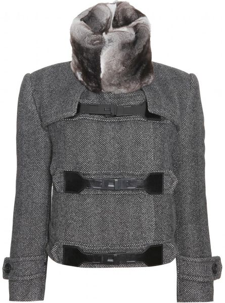 Burberry Prorsum Herringbone Jacket with Fur Collar in Gray (grey)