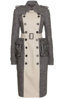 Burberry Prorsum Tweed Trench Coat - Lyst
