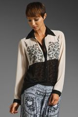 Clover Canyon Blouse in Creamblack - Lyst