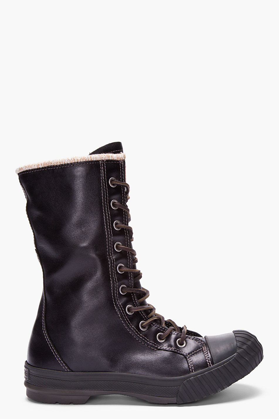 converse black leather chuck all boosey boots