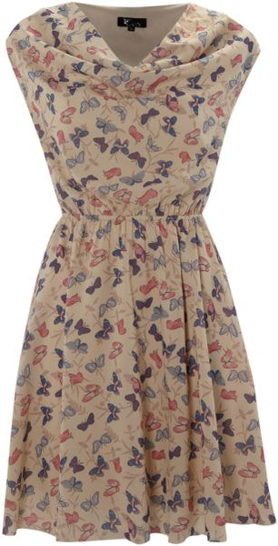 Cutie Butterfly Cowl Neck Dress in Blue