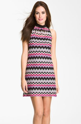 Donna Ricco High Neck Zigzag Shift Dress - Lyst