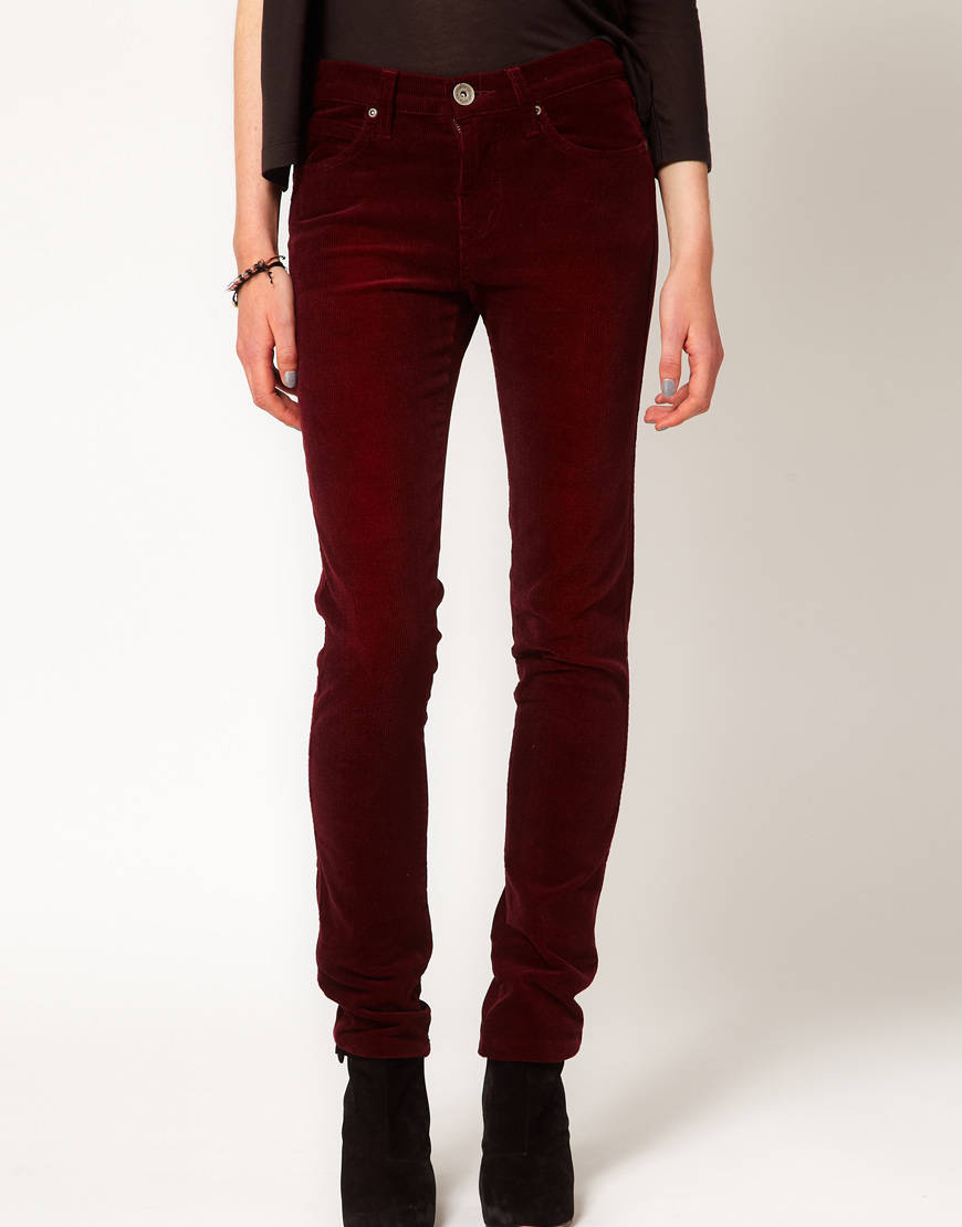 Lyst Dr Denim Cord Skinny Jeans In Red